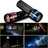 S&G LED Torch Flashlight, 2 Pack Ultra Bright, Zoomable Pocket-Sized Handheld Light with 3 Light Modes, IPX4 Waterproof Lumen Light for Camping, Hiking, Biking, Outdoor, Emergency Flashlights