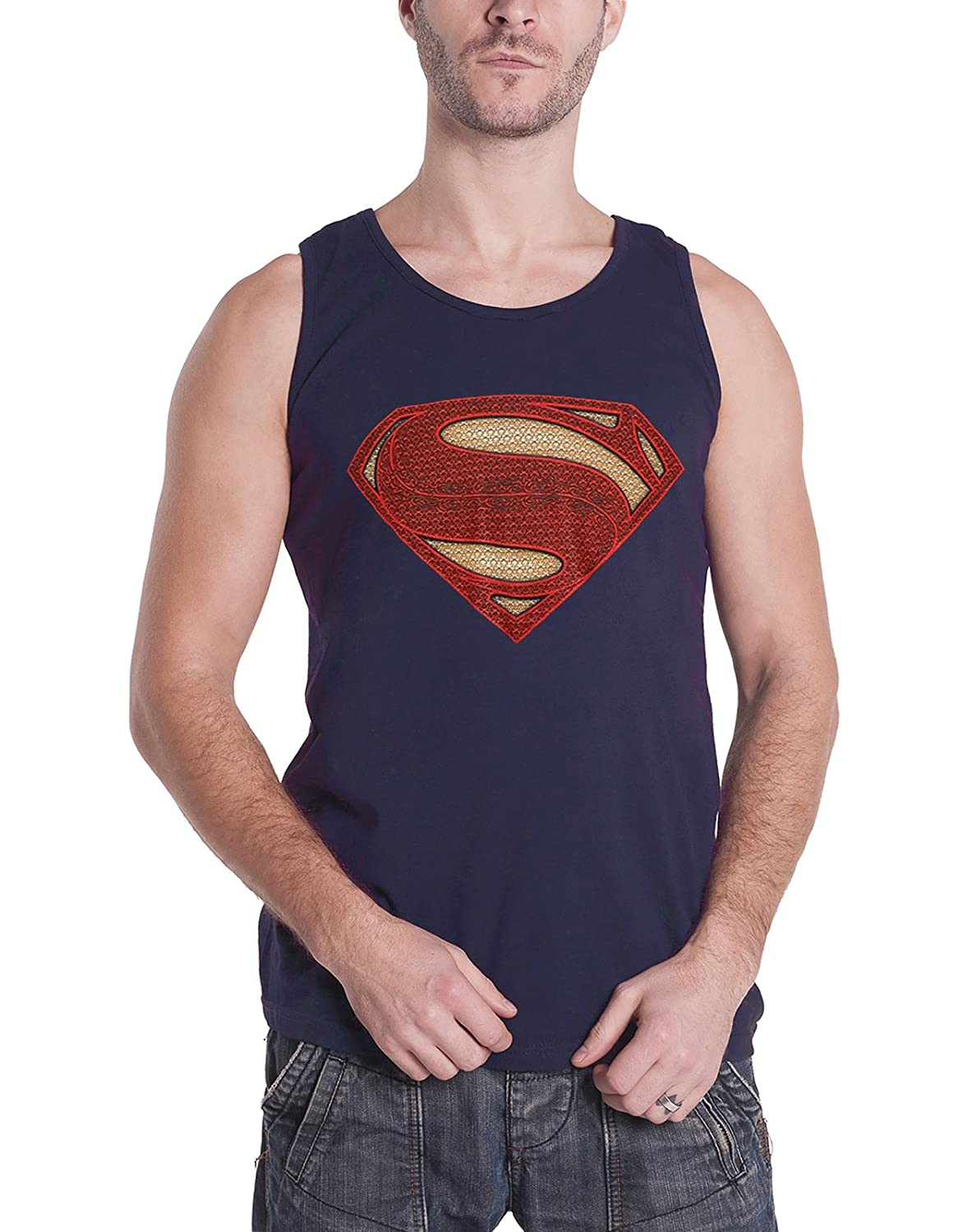 DC Comics Superman Vest Man of Steel Logo New Official Mens Navy Blue Tank Top