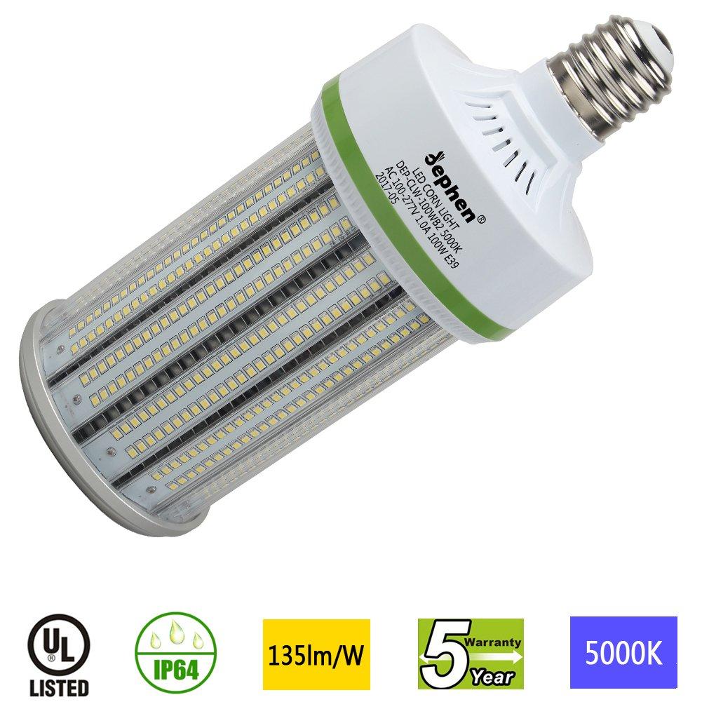 Dephen 100W Led Corn Light Bulb, Mogul E39 Base, 13500 Lumens, 5000K, 700W Incandescent Equivalent, Replacement for Metal Halide HID, CFL, HPS Bulbs