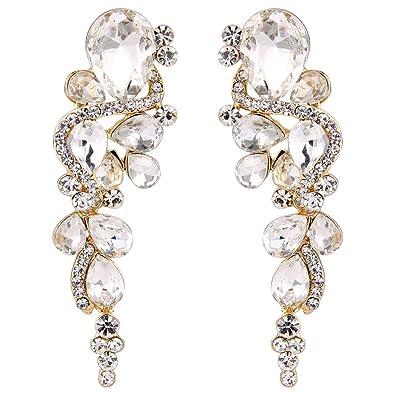 Clearine Women's Bohemian Boho Crystal Wedding Bridal Multiple Teardrop Chandelier Long Dangle Earrings AKiUtZq
