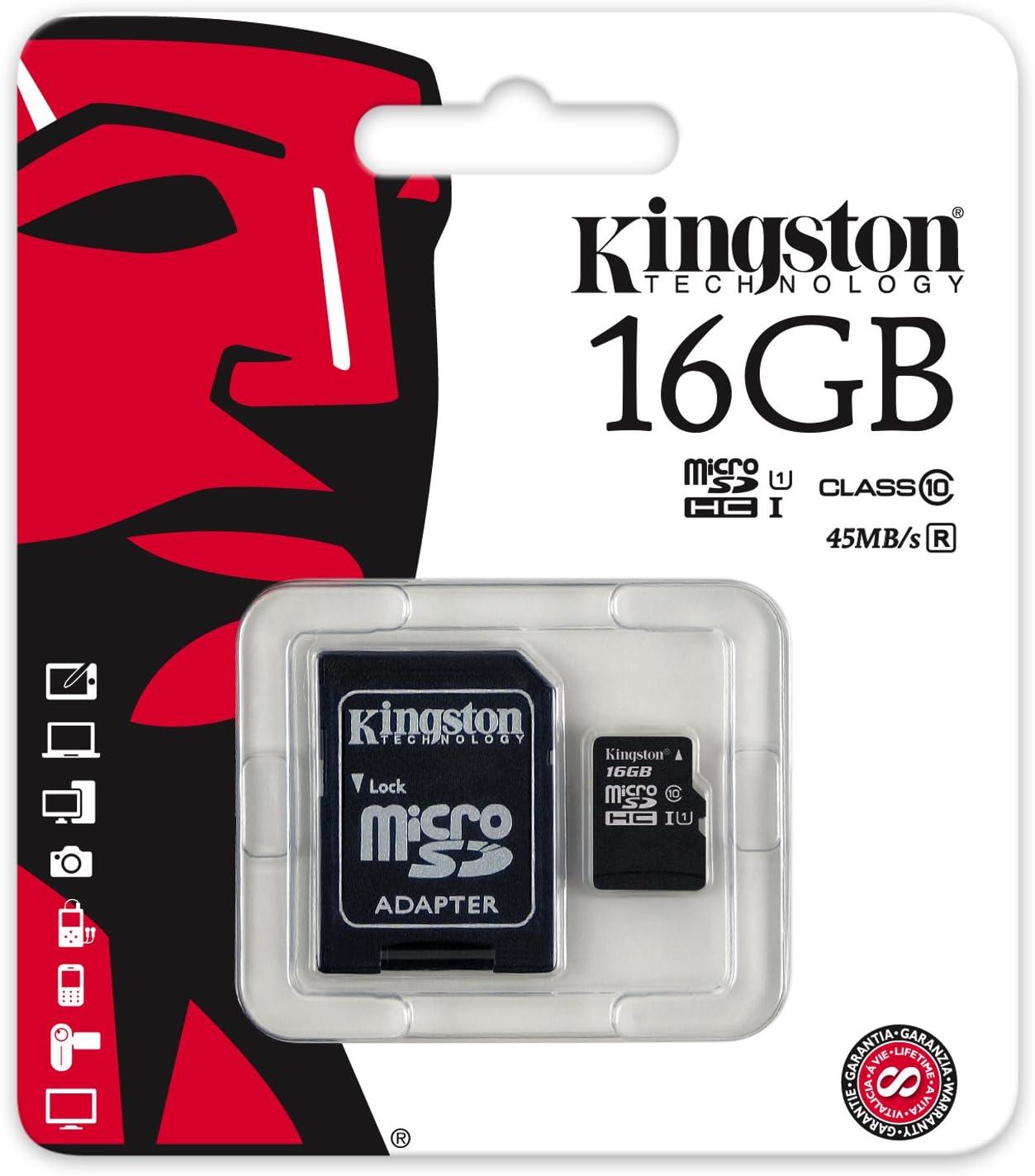 32Mbps // Class 4 Professional Kingston 16GB MicroSDHC Panasonic P31 with custom formatting and Standard SD Adapter!