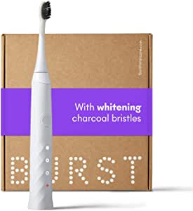 BURST Electric Toothbrush with Charcoal Sonic Toothbrush Head Gift Set, White