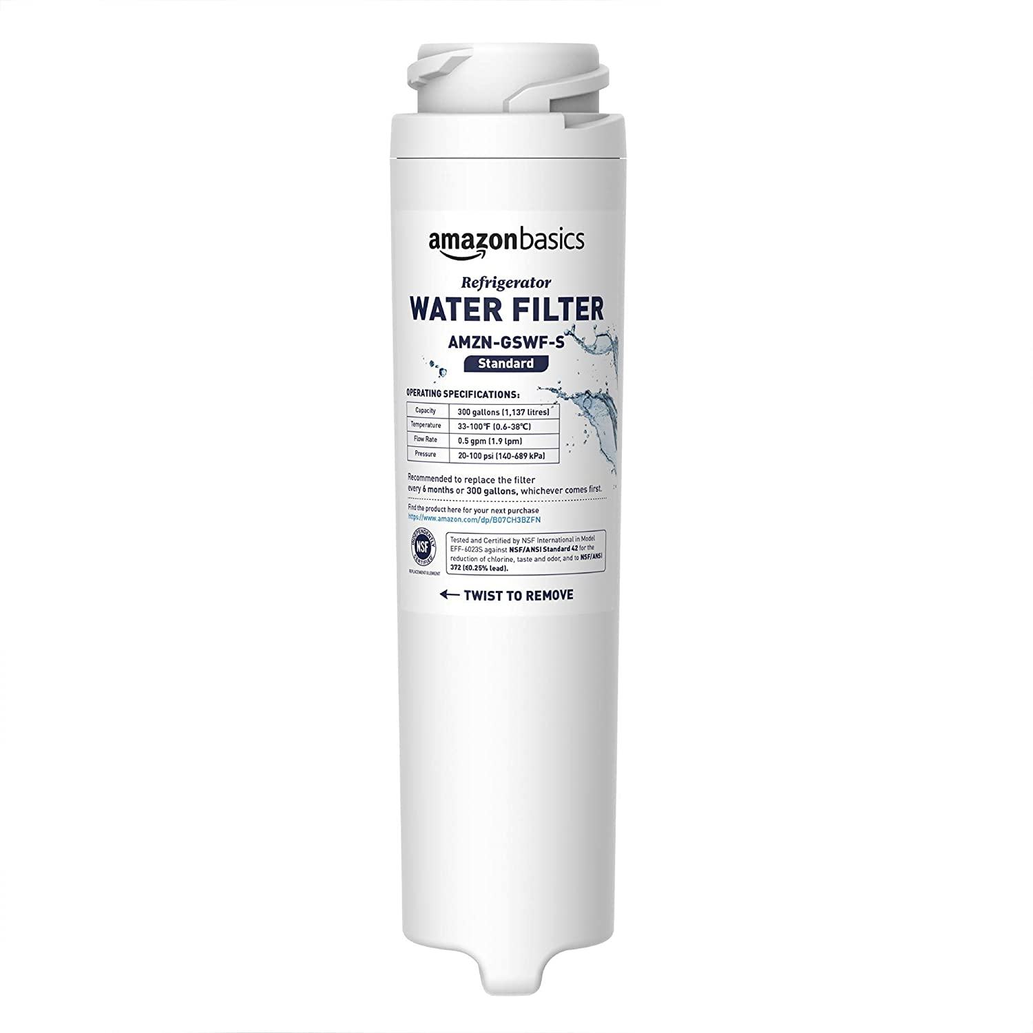 AmazonBasics Replacement GE GSWF Refrigerator Water Filter - Standard Filtration