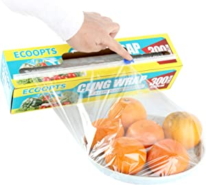 ECOOPTS Cling Wrap Plastic Food Wrap with Slide Cutter and BPA Free Plastic Wrap 300MM×300M