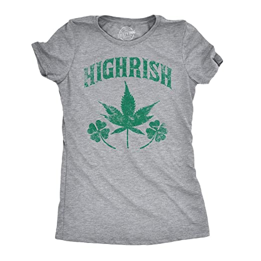 a57a1451314 Womens Highrish Funny Irish Pride St. Patrick's Day Lucky Clover T Shirt  (Grey)