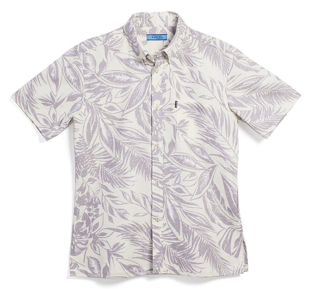 MAJUN (マジュン) かりゆしウェア アロハシャツ かりゆし 結婚式 メンズ 半袖シャツ ボタンダウン プリペラリーフ B07CCMXPHJ 3L グレー グレー 3L