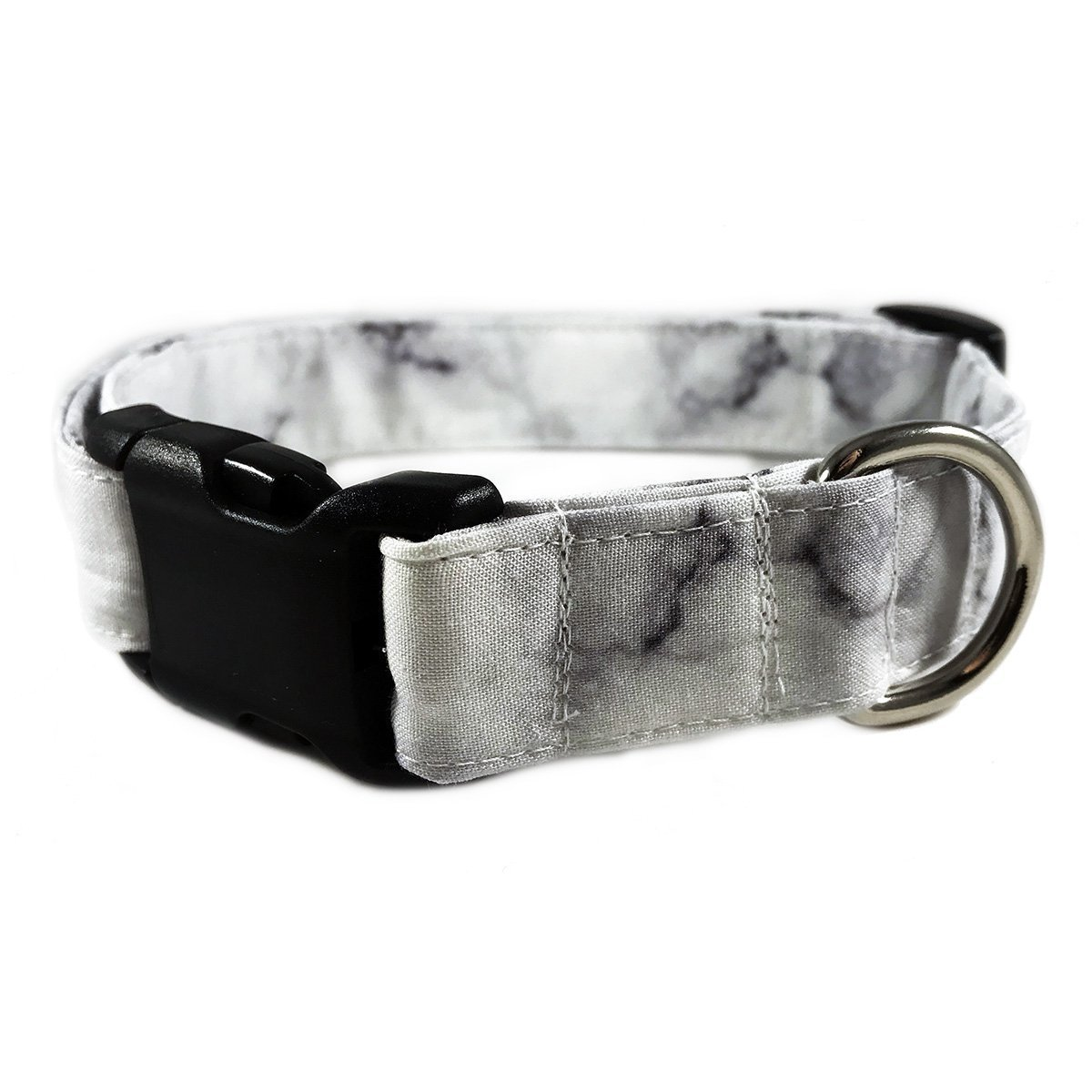 White Marble Dog or Cat Collar for Pets Size Medium 3/4'' Wide and 13-17'' Long by Oh My Paw'd by Oh My Paw'd