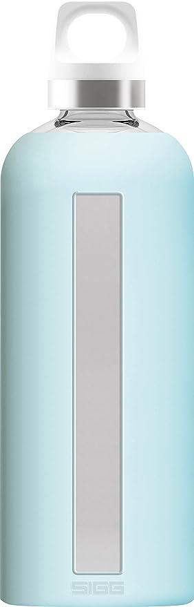 Sigg Star Glacier, Botella de Agua de Vidrio con Piel de Silicona, 0.85 L