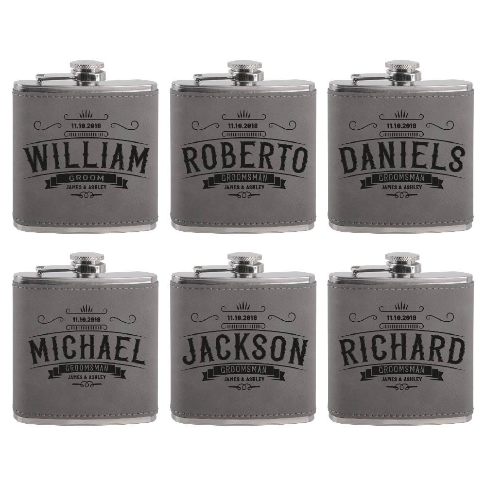 Set of 6 - Personalized Groomsmen Flasks, Groomsmen Gifts   6oz Leatherette Personalized Flask for Liquor w Optional Gift Box - Personalized Groomsman Proposal Gifts   Wedding Favor #4 ASH