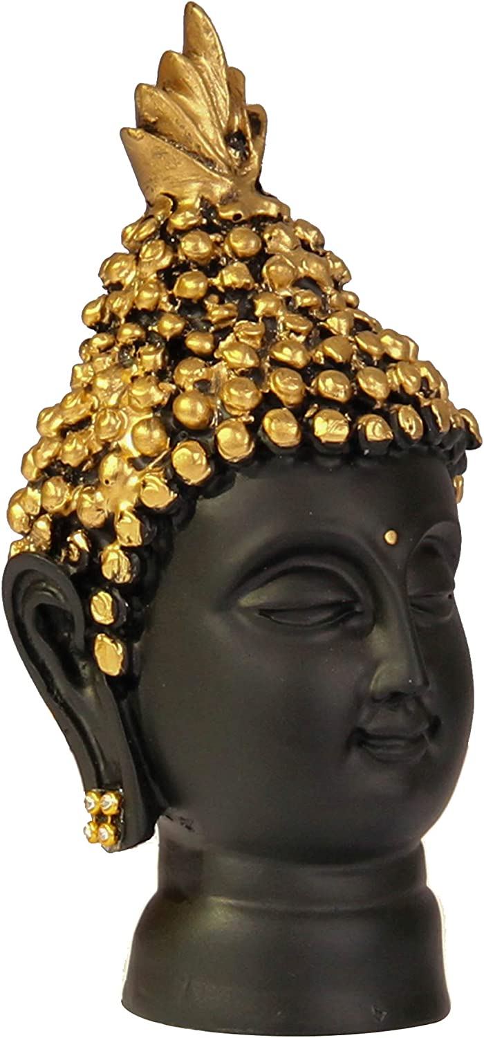 Decorative Buddha Sculpture Showpiece for Home Living Room Table Decoration and Gifts TIED RIBBONS Buddha Head Statue 13.7cm X 6.3 cm