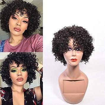 Amazon Com Short Afro Kinkys Curly Hair Wig Human Hair Mid Length