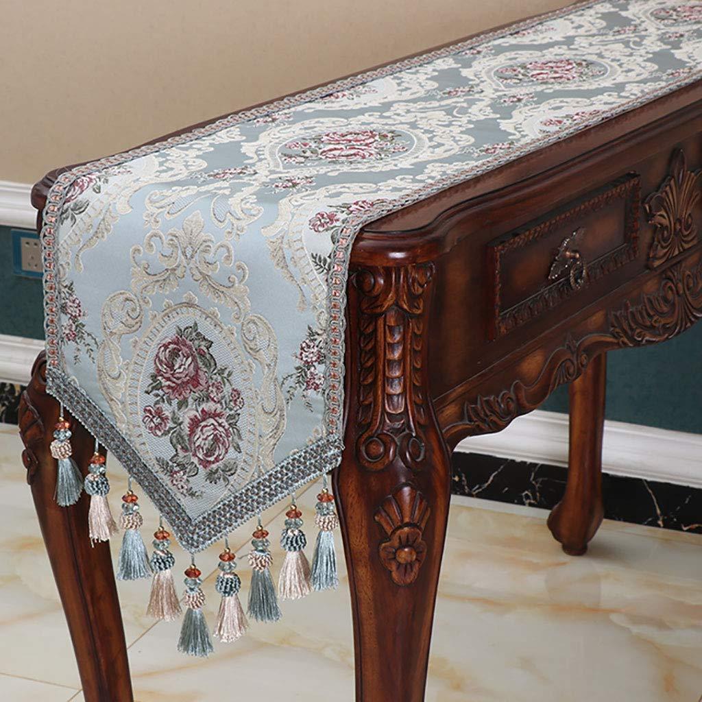 テーブルランナー、ランナーとドレッサースカーフ、結婚披露宴の装飾のためのサテンのテーブルランナー、しわのないテーブルランナー、青、緑、ベージュ(色:緑、サイズ:35 * 240 cm)   B07SJKWDSL