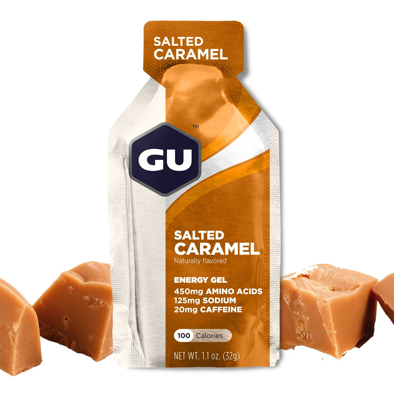 GU Energy Original Sports Nutrition Energy Gel, Salted Caramel, 8-Count
