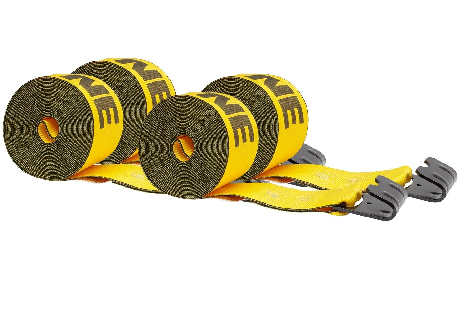 Mytee Products (4 Pack) Kinedyne 4'' x30' Winch Straps w/Flat Hook, WLL 5400 Trailer Flatbed Tie Down Strap - Gold by Mytee Products