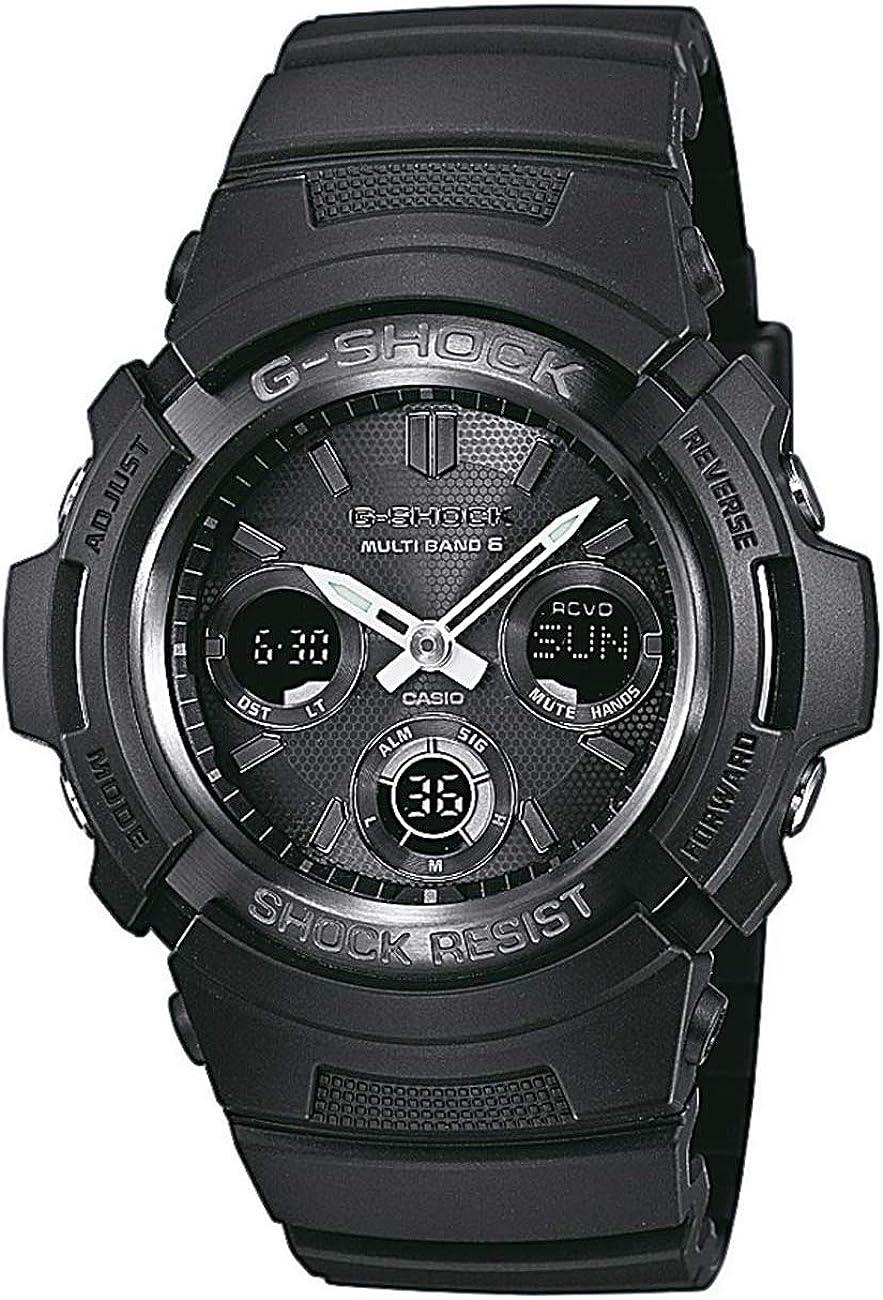 Casio G-SHOCK Reloj Analógico-Digital, Reloj radiocontrolado y solar, 20 BAR, Negro, para Hombre, AWG-M100B-1AER