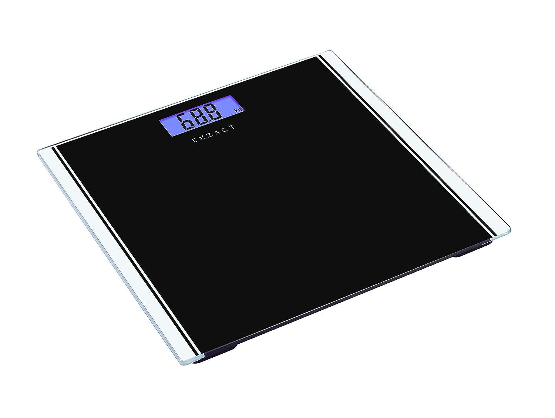 Exzact Báscula Corporal Electrónica/Báscula de Baño Digital/Escala Personal - 180kg - Exhibición del LCD de la contraluz (Negro): Amazon.es: Hogar