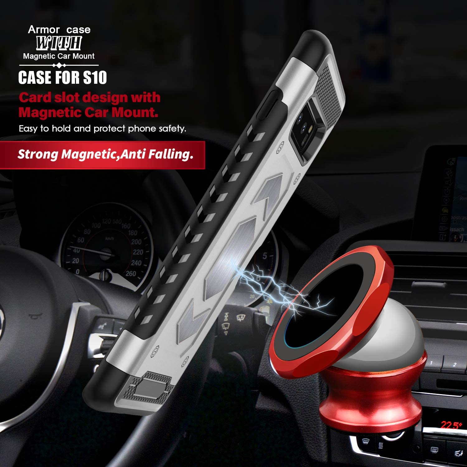 Samsung Galaxy S10e|S10|S10 Plus case Hard Shell with Card Holder Magnetic Car Mount Slim Heavy Duty Bumper Protective Cover