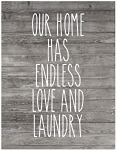 Andaz Press Laundry Room Wall Art Decor Signs, 8.5 x 11-inch Poster, Rustic Farmhouse Gray Wood, Our Home Has Endless Love and Laundry, 1-Pack, Unframed