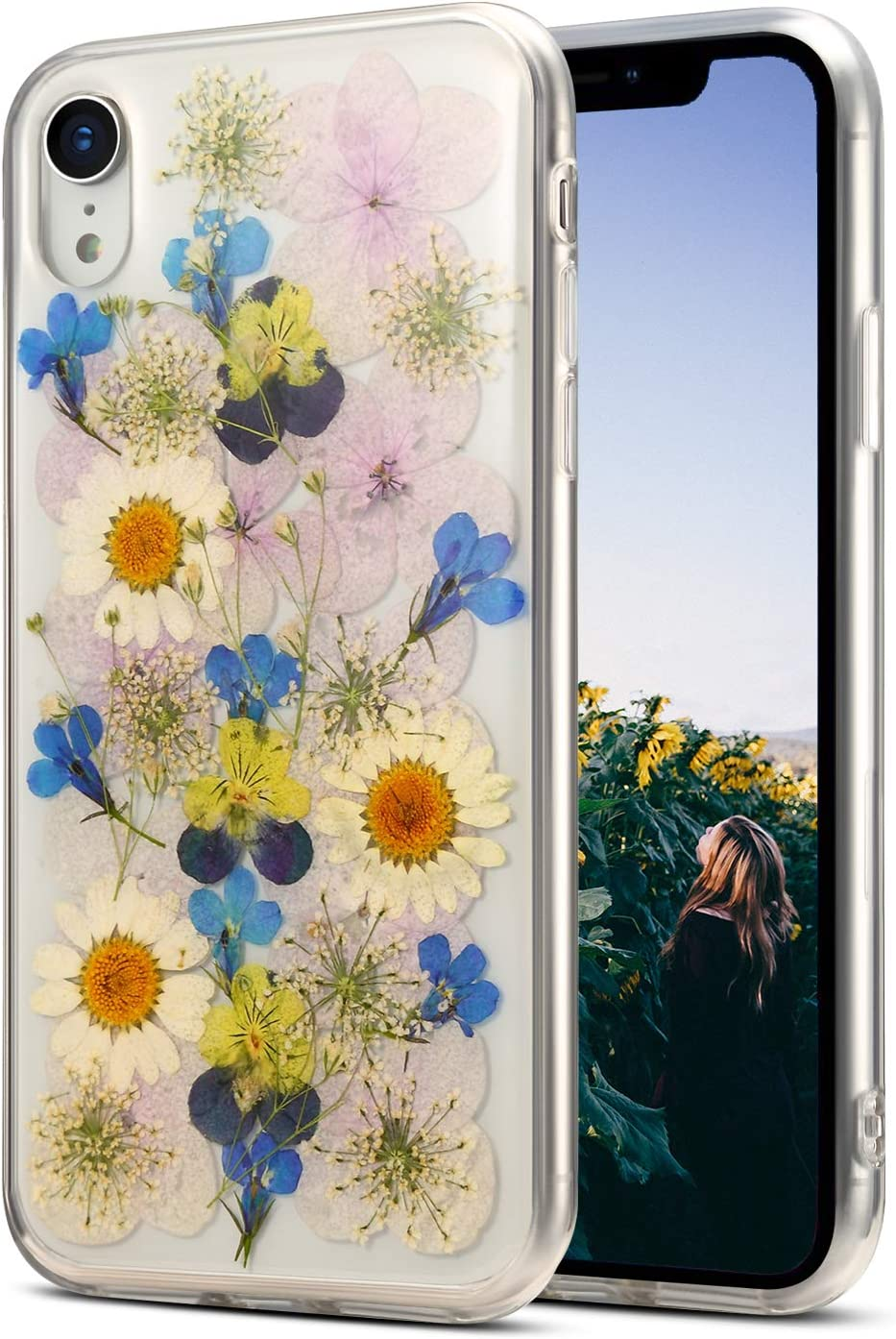 AHTONG iPhone XR Case Floral,Cute Real Flower Pressed iPhone XR Clear Case Design for Girls [Support Wireless Charging] Soft Silicone TPU Phone Protective Cover for iPhone XR 6.1'',Sunflower Blue
