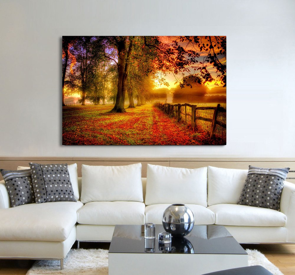 Large Landscape Painting on Canvas Beautiful Autumn Forest Sunset by the Small Lake Wall Art for Living room prints pictures Modern Home Decorative set Framed Ready to Hang for wall (27.5x47inch) by Yatsen Bridge