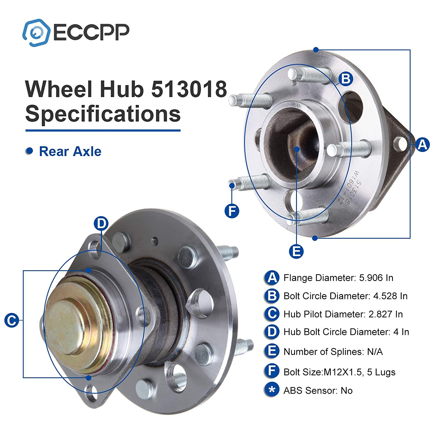 ECCPP Replacement for Wheel Bearing Hub 513018 Hub Bearing Assembly Hub Assemblies Rear Axle 5 Lugs for Buick Cadillac Chevrolet