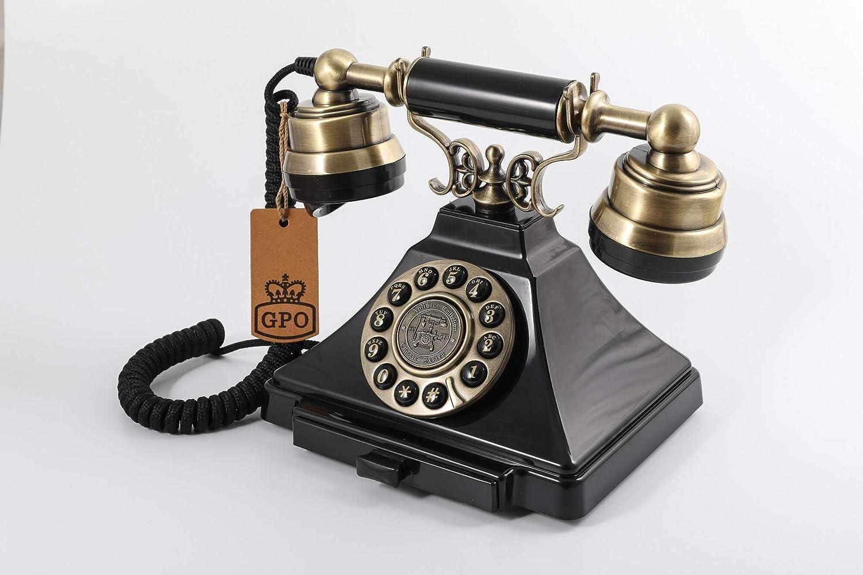 Negro y bronce Tel/éfono con bot/ón vintage nost/álgico GPO Duke Cord/ón de tela aut/éntico tono de campana