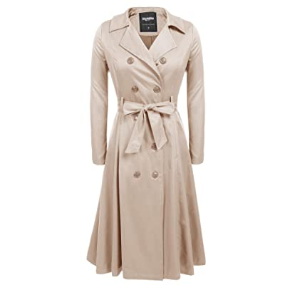 Zeagoo Women's Trench Coats Double-Breasted Long Coat with Belt: Clothing