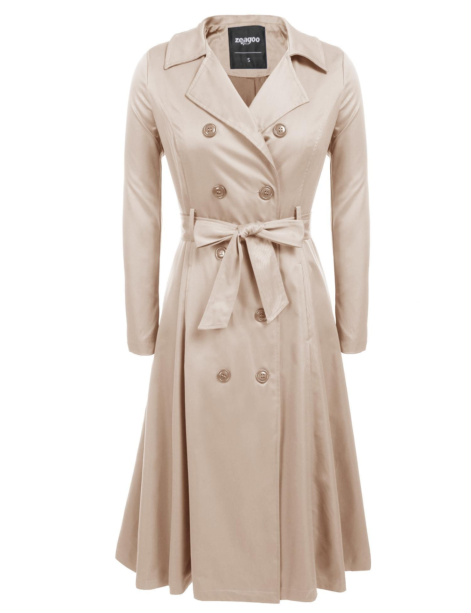 Zeagoo Women's Trench Coats Double-Breasted Long Coat with Belt