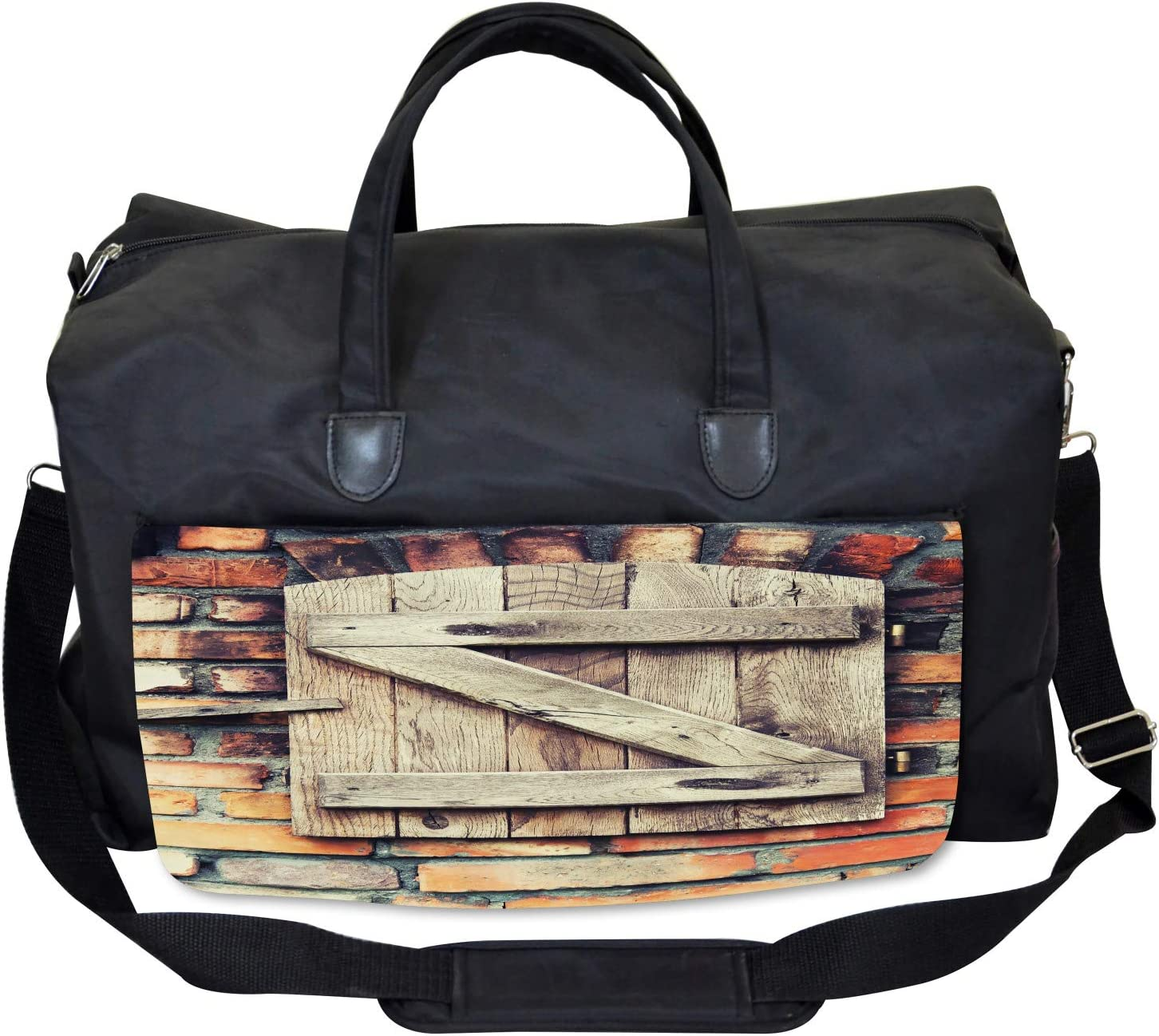 Ambesonne Wooden Gym Bag Natural Red Brick House Large Weekender Carry-on
