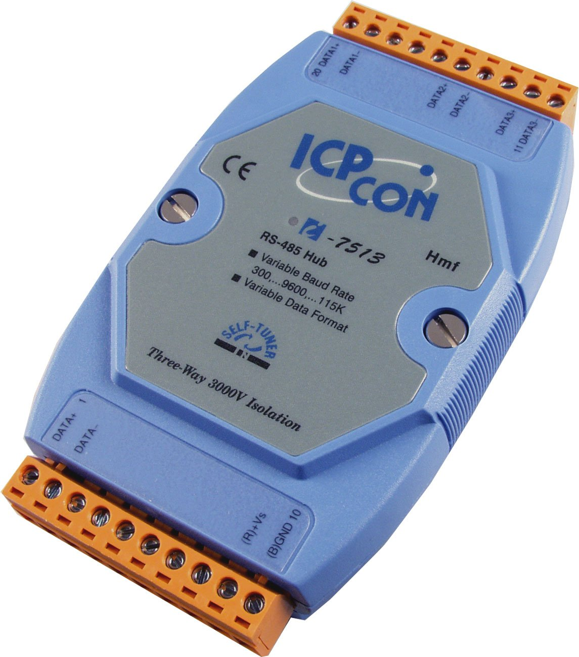 ICP DAS USA I-7513 Industrial 3-Way Isolated RS-485 Hub/Splitter with Din Rail Mount. Extends RS-485 network up to 4000 feet. by ICP DAS (Image #1)
