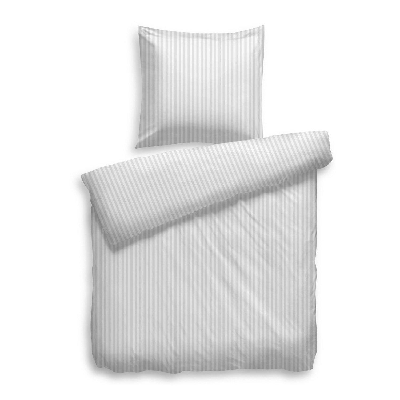 HnL Living Uni Stripe Mako-Satin Bettwäsche 200x200 + 2 x 80x80 Weiß