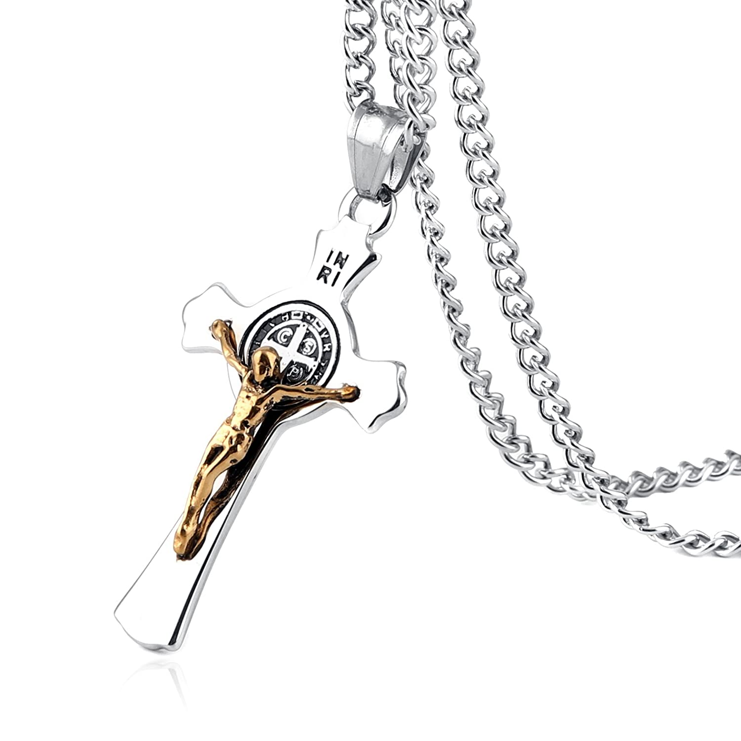 HZMAN Stainless Steel Saint St St. Benedict Crucifix Cross Pendants Necklace INRI S67710B