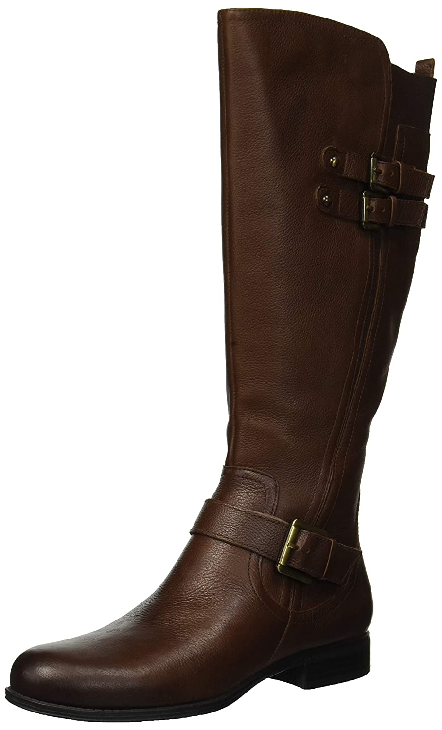 Women's Jessie Knee-High Triple-Buckle Straps Low-Heel Chocolate Real Leather Boots - DeluxeAdultCostumes.com