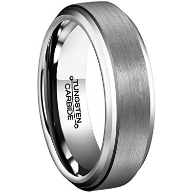 Men Rings 6mm Tungsten Carbide Brushed Matte Finish Beveled Edge