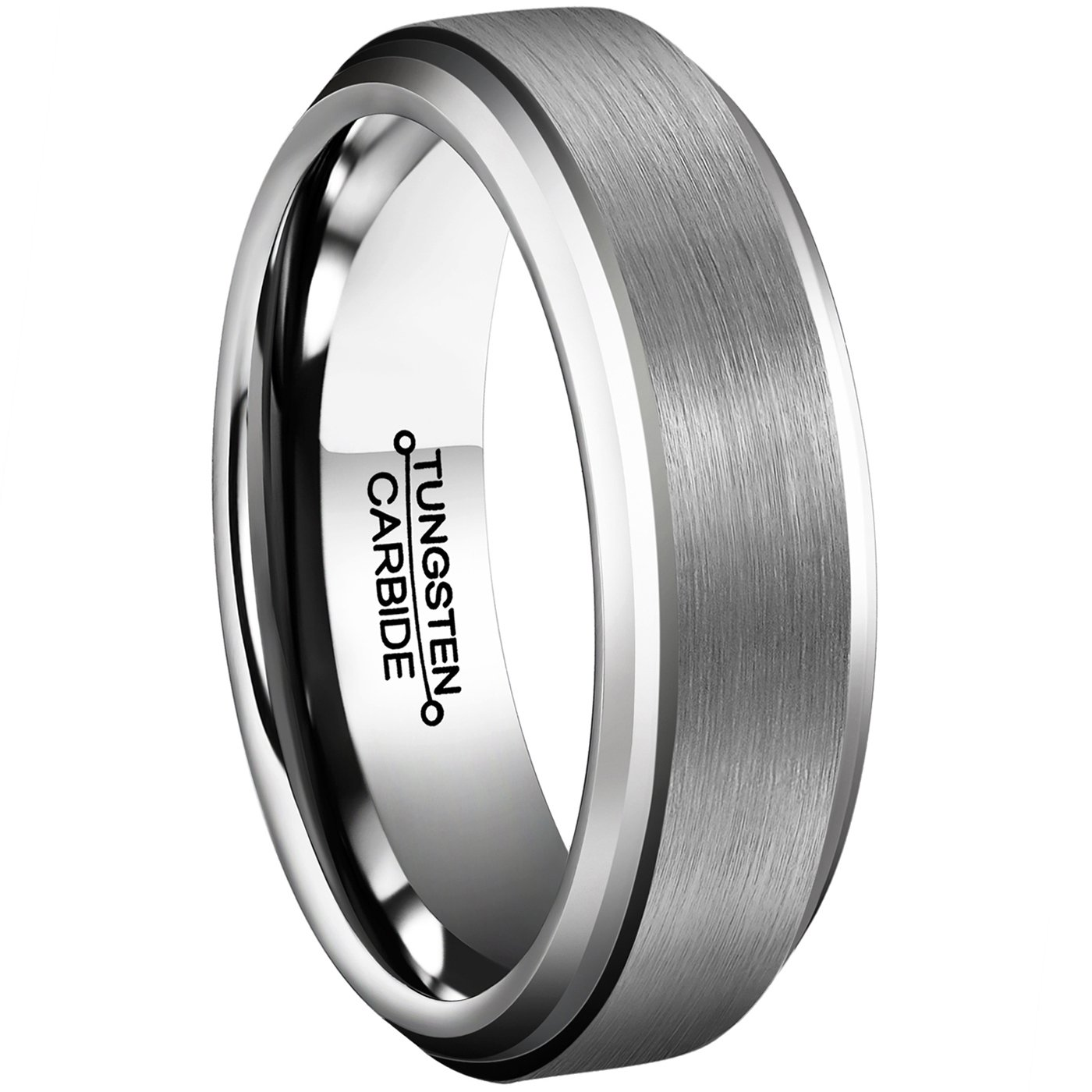 Men Rings 6mm Tungsten Carbide Brushed Matte Finish Beveled Edge Comfort Fit Wedding Engagement Band