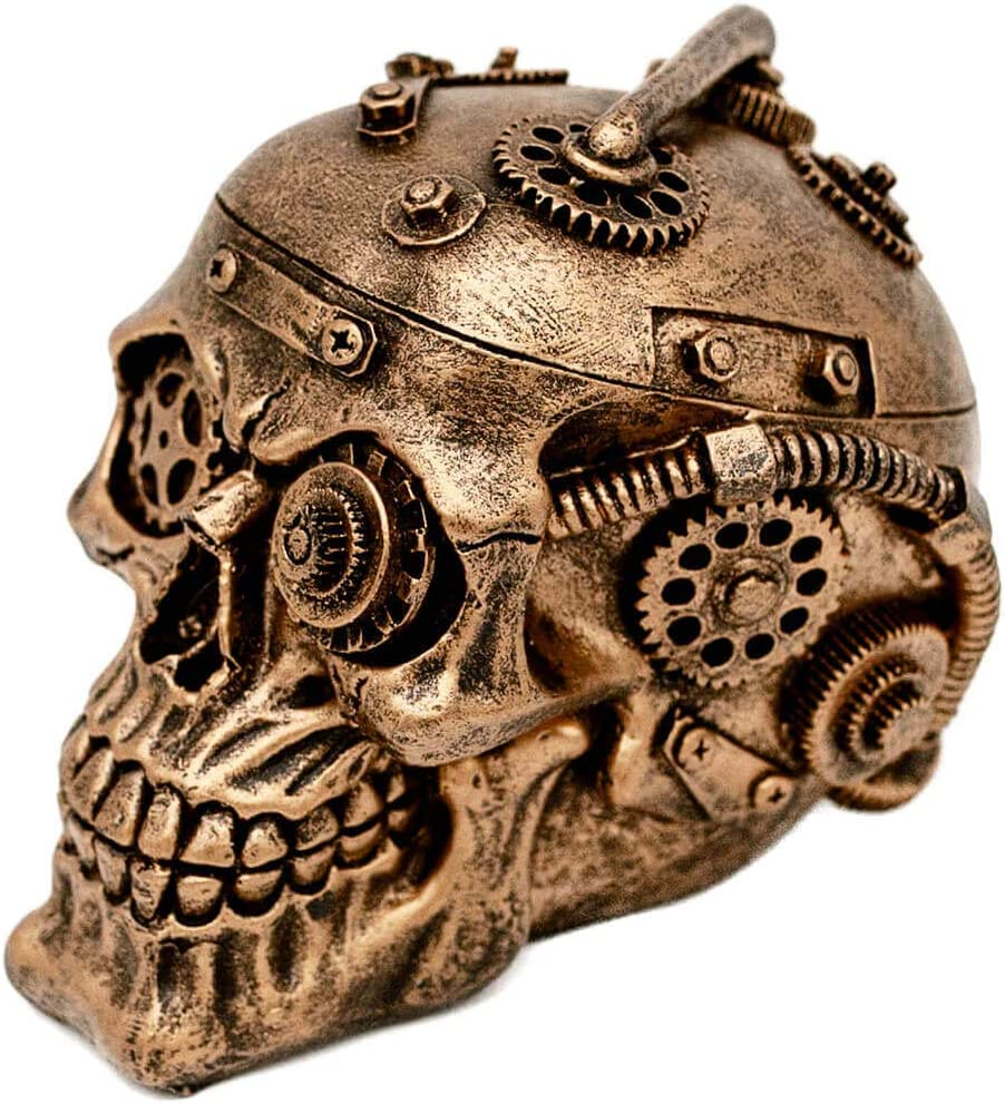 BLASCOOL Halloween Steampunk Gothic Skull Decor - Sci-fi Human Head Skeleton Cranium Figurine Cyborg Protruding Gearwork Statue (Gold)