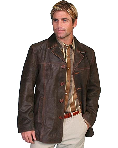 Amazon.com: Scully Men's Calf Suede Leather Car Coat - 19-131 ...