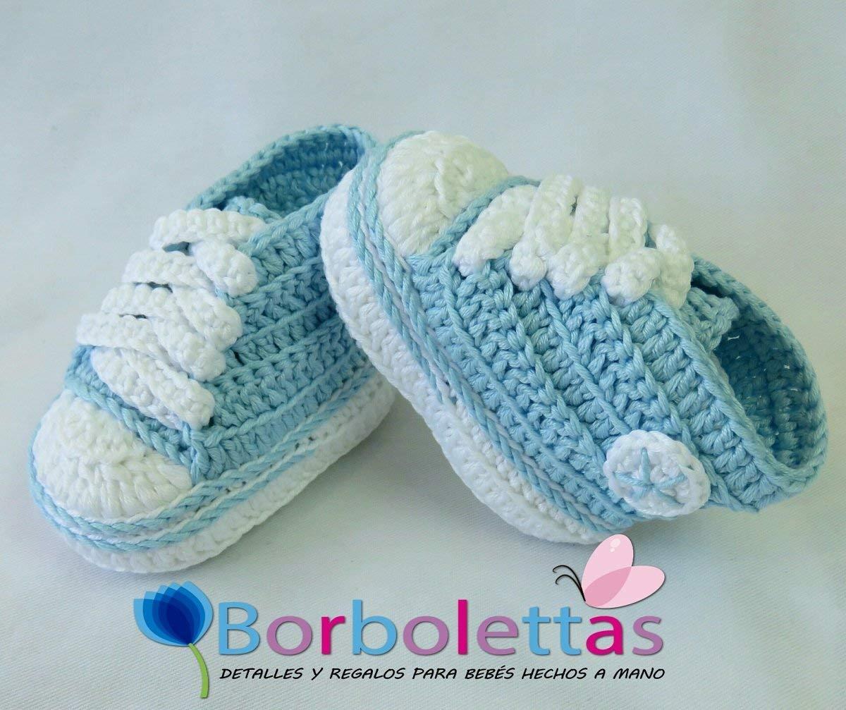 Patucos para Bebé Recién Nacido tipo Converse, 0-3 meses Azul ...