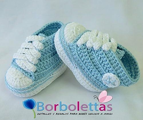 Patucos para Bebé, tipo Converse, 3-6 meses, Azul Claro. Hecho a ...
