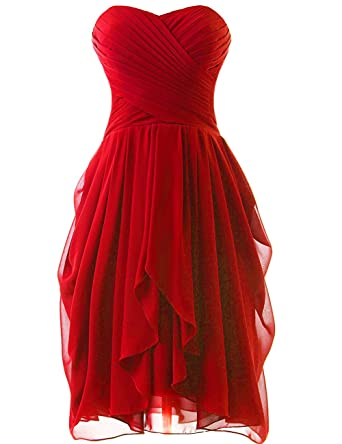 HUINI Strapless Short Chiffon Bridesmaid Prom Dresses Ruched Wedding Party Formal Gowns Red UK6