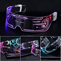 LED Glasses Men's and Women's Colorful Luminous Glasses Luminous Light Up Futuristic Electronic Glasses Props Glasses…