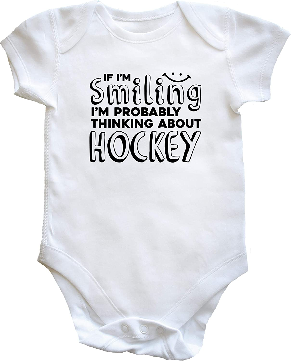 Short Sleeve Boys Girls Hippowarehouse If Im Smiling Im Probably Thinking About Hockey Baby Vest Bodysuit