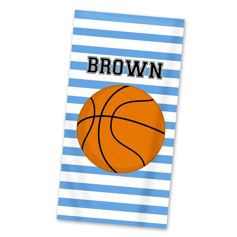 Amazon Com Basketball Beach Towel Blue Stripes Sports Lightweight Pool Towel Personalized Name Gift Handmade