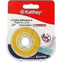 Kathay 86003300 plakband, transparant, met afroller, 18 mm x 33 m, gemakkelijk te snijden