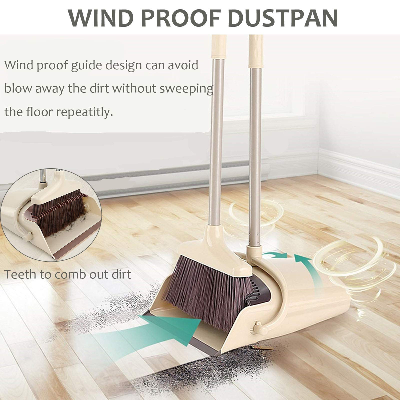 Broom and Dustpan Set, 48 inch Extendable Broom Standing Upright - Wind Proof - Foldable Sweep Set with Soft Bristles & Rubber Edge & Dust Pan with Teeth, Perfect for Kitchen, Garden, Office, etc. by SerBion (Image #4)