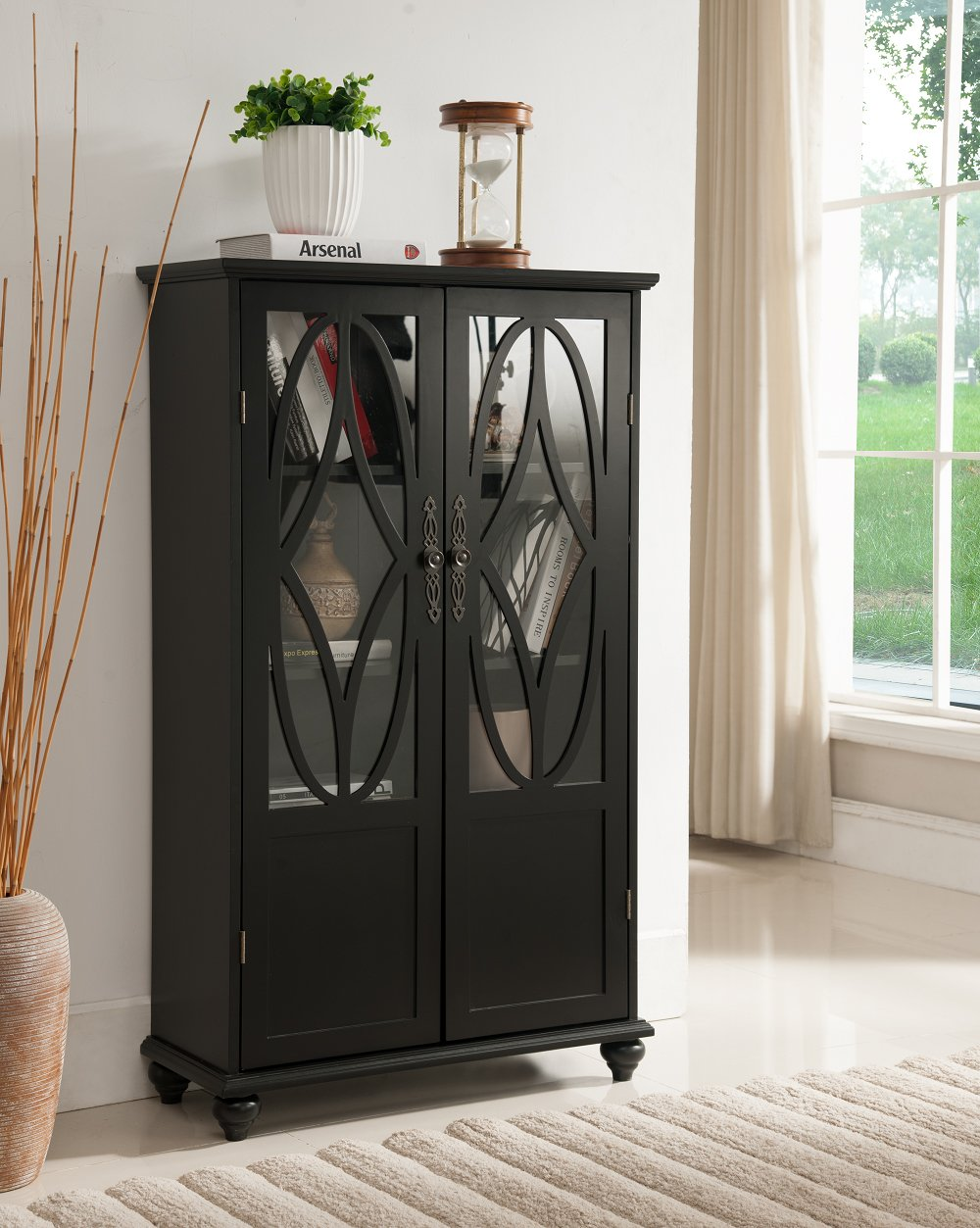 Kings Brand Furniture- Halswelle 2-Door Black Curio Bookcase Cabinet with Glass Doors by Kings Brand Furniture