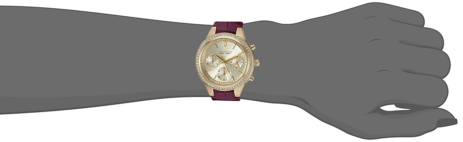 Caravelle New York Women s Stainless Steel Quartz Watch with Leather-Crocodile Strap, Purple, 9 Model 44L182
