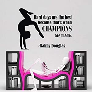 Design with Vinyl CK-NJ-2355-OADR-29 Decor Item Gymnastic Girls Sports Quote Champions Bedroom Vinyl Wall Decal Sticker, 10-Inch x 14-Inch, Black