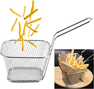 8Pcs Mini Stainless Steel Fry Baskets Chips Deep French Fries Fry Baskets Holder Food Presentation Strainer Potato Cooking Tool, Suitable for Chips, Onion Rings, Chicken Wings, Silver