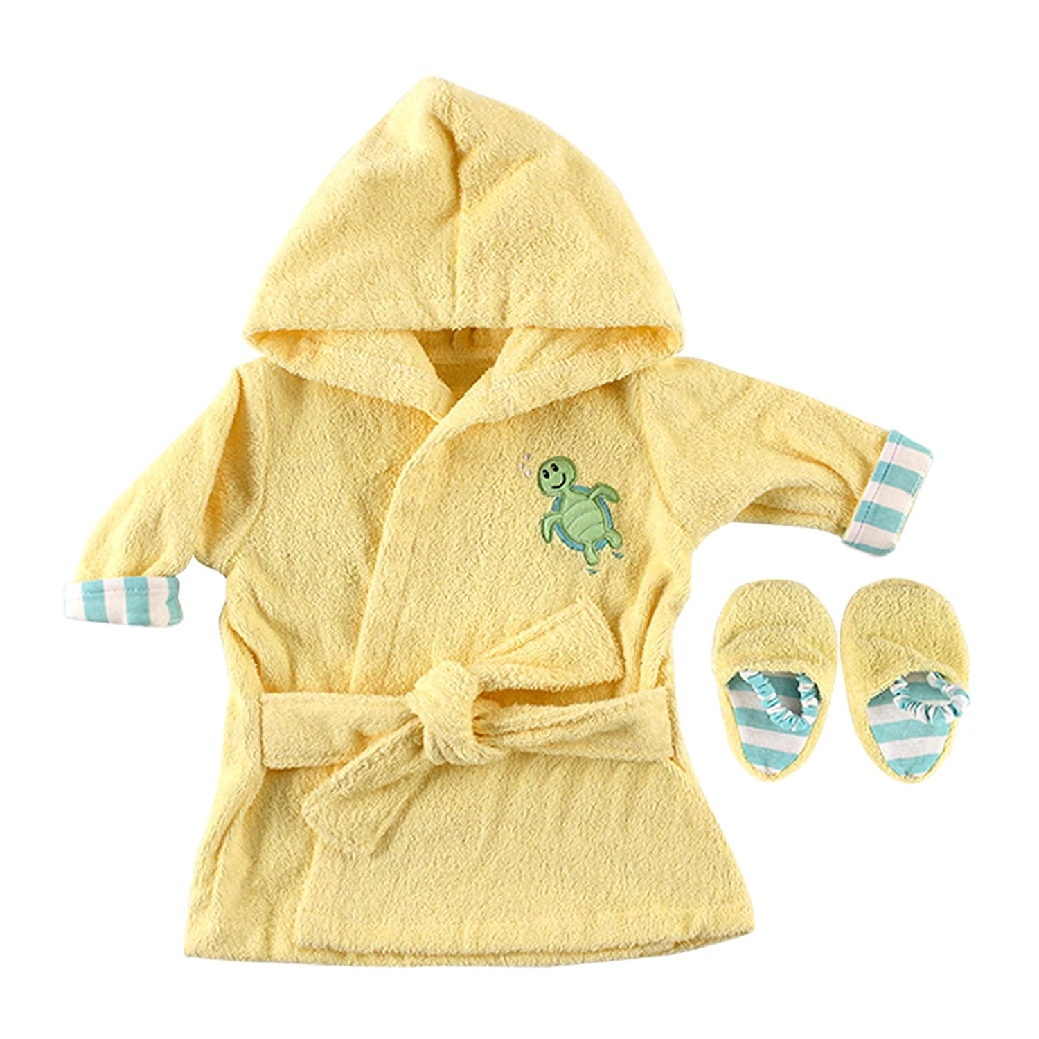 Luvable Friends Color Bath Robe with Slippers - Woven Terry in Yellow BabyVision 10305158_Yellow